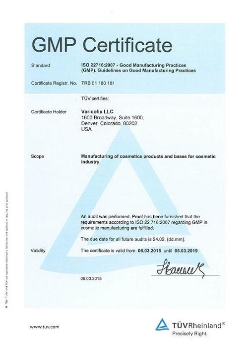 GMP Certificate VaricoFix
